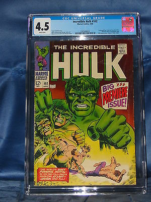 Incredible Hulk #102 Cgc 4.5 Key Issue Marvel Comics 1968 White Pages