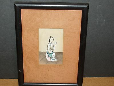 Antique Framed #3 of 5 Asian Chinese Japanese Hand Painted Lady Painting