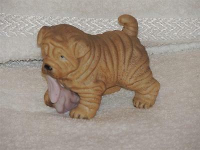Shar Pei Puppy Dog Figurine Puppy Pals 8917 Blanket Lovey in Mouth Figure