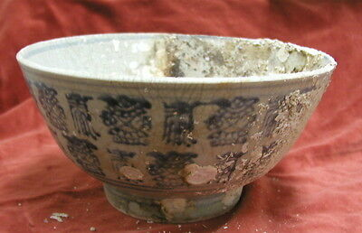 large antique Chinese blue & white bowl