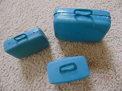 "Samsonite Luggage Suit Case Miniatures Advertising Give Away 3-4"" Set of 3 Dolls"