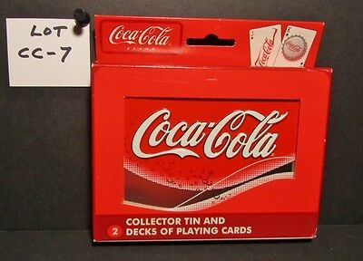 COCA-COLA COLLECTOR TIN & TWO DECKS OF BiICYCLE PLAYING CARDS - NEVER OPENED