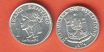 Philippines 1 Sentimo 1974 Unc Lapu Lapu Head 3/4 Right