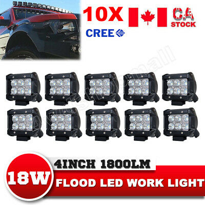 10X4Inch 18W CREE Flood LED Work Light Bar Driving Lamp Off road ATV SUV