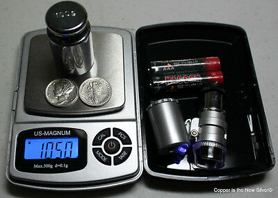 Best Quality 500g Bullion Coin Scale + 60x Powered LED Loupe Silver Mercury Dime