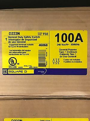 SQUARE D D223N 100A GENERAL DUTY SAFETY SWITCH ** New In Box, Free Shipping **