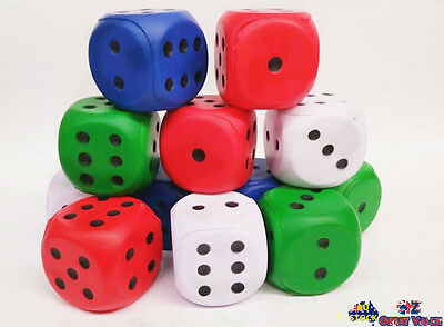 Pack of 12 Soft Foam Dice 5.5cm Child Kids Toy Activities Games Math Teaching OZ