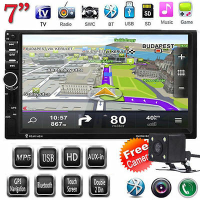 "7"" GPS Sat Nav MP5 Player 2 Din Touch Screen Car Stereo Head Unit FM TV AUX+CAM"