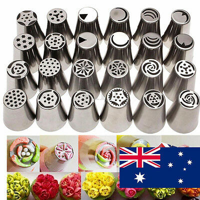 24Pcs Set Russian Flower Stainless Steel Icing Piping Nozzles Cake Baking Tools
