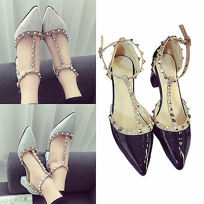 UP Women Studded Shoes Pointed Toe Ankle Strappy Pumps High Heels Rivet Sandals