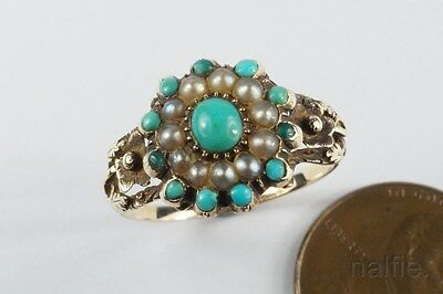 ANTIQUE ENGLISH LATE GEORGIAN 9K GOLD PEARL & TURQUOISE CLUSTER RING c1830