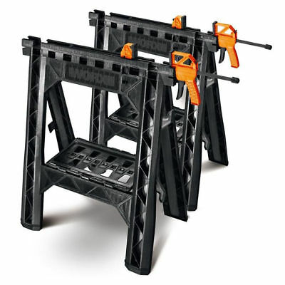 Worx WX065 Lightweight and Portable Clamping Sawhorse Set with Bar Clamps New
