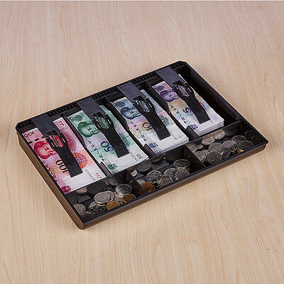 Cash Coin Register Replacement Money Drawer Storage Box +4 Bill 3 Trays Black