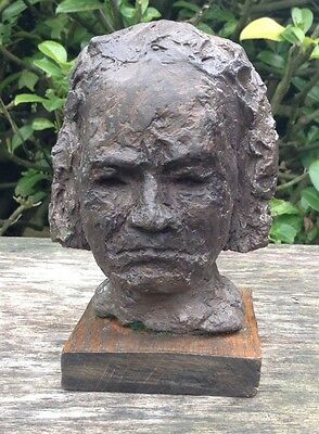 Old Vintage Naive Bust Figure Sculpture - Wire Covered In Plaster Painted Bronze