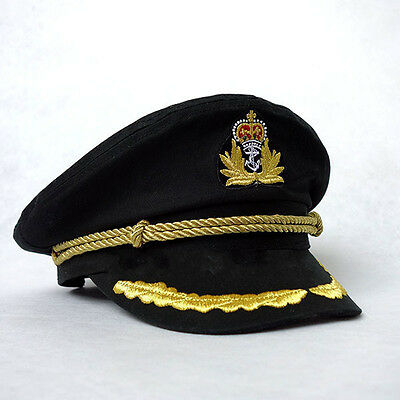 Unisex Men Deluxe Sailor Hat Officer Stag Night Nautical Fancy Dress Captain Cap