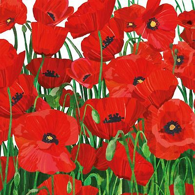 "FLORAL POPPIES RED WHITE 3-PLY 20 PAPER NAPKINS SERVIETTES 13""x13""–33X33CM"