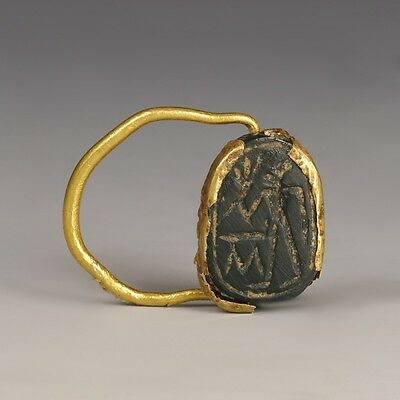Egyptian Gold Swivel Finger Ring With Scarab