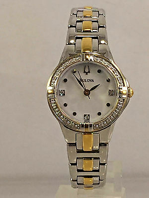 Women's Bulova 98R166 Two Tone Stainless Diamond Accent Case MOP Dial Watch
