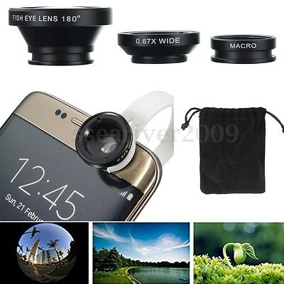5 in 1 Clip On Camera Lens Fisheye Wide Angle Macro For Universal Cell Phone