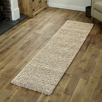 NEW LIGHT BEIGE SHAGGY AREA RUNNER RUG HALLWAY MODERN FLOOR 60x220cm HOME RUGS