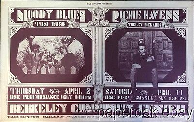 Original Bill Graham Fillmore 215A Poster Moody Blues & Richie Havens