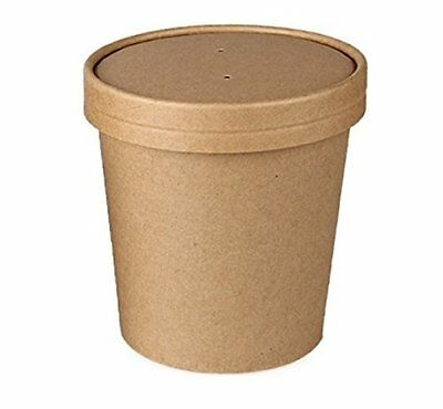 SafePro 16 Oz. Kraft Paper Soup Cup With Vented Paper Lid, CASE OF 100