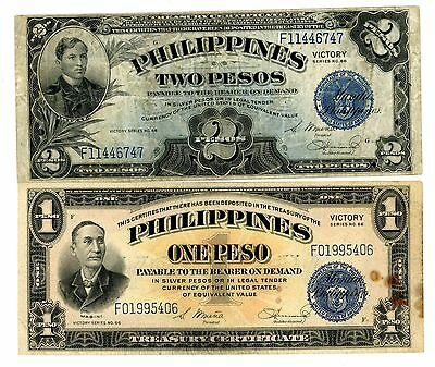 Philippines  ... P-94a-95a ... 1 2 Pesos ... ND(1944) ... +/-*VF*
