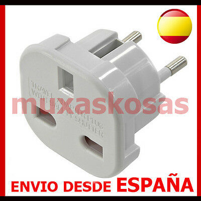 Adaptador Corriente De Enchufe Uk Ingles Reino Unido A Europeo Redondo Ue