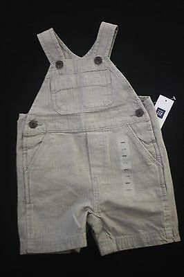 Nwt Baby Gap Infant Boys Shortalls - Grey W/pinstripe Cotton - Size 3-6 Months