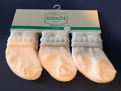 3 PACK TrimFit  INFANT NEWBORN BABY GIRL BOY UNISEX WHITE SOCKS 0-6 MONTH
