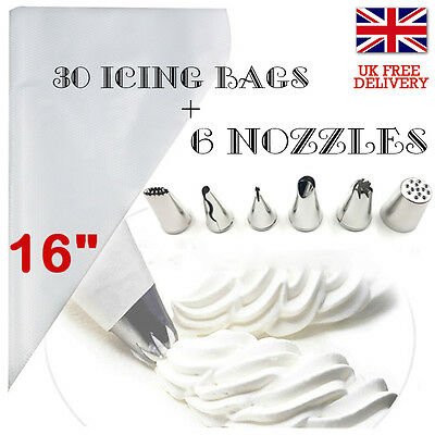 30Pcs Piping Icing Bag 6 GRASS NOZZLE Disposable Cupcake Pastry Decorate Nozzle