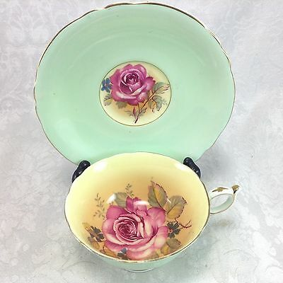 Paragon Green Background Red Pink Rose Vintage Cup & Saucer Teacup Queen Mary