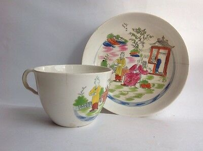 ANTIQUE Chinese TEA Cup & SAUCER HAND-PAINTED Figures Buildings 1900 A/F damage