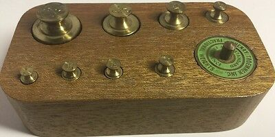 Henry Troemner Inc. Drug Apothecary Balance Scale Weights Wood Box Set Brass