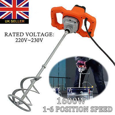 New 1600w Heavy Duty Cement Single Paddle Mixer Mortar Plaster Paint Stirrer