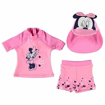 Disney Baby Girl Minnie Mouse 3 Piece Swim Shirt Trunks Sun Hat Set