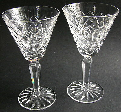 "Two (2) Signed Waterford Crystal 6 1/2"" TYRONE Claret Red Wine Goblets Glasses"