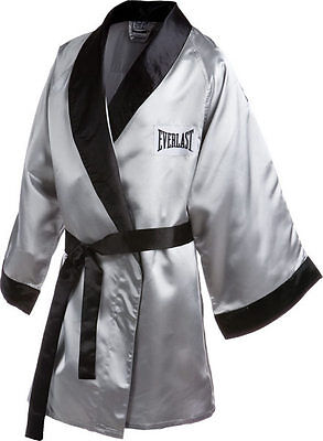 New Everlast Boxing Satin Robe 3/4 Fingertip Length Size: Large Color: Silver