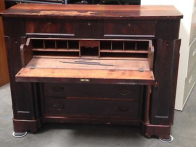 Antique Solid Mahogany Large Cabinet Secretary Desk W/side Cabinet Local Pick-Up