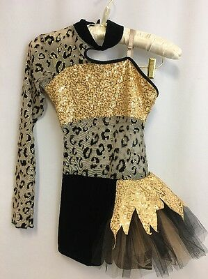 Cicci Dance Costume Child Large Romper Shorts Recital Pageant Tulle Sequins