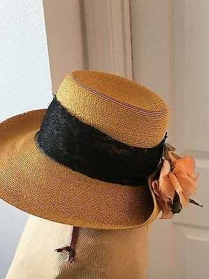 Vtg Wheat Straw Women's Hat W/PEACH SILK FLOWER  HATS By JEAN PATERSON NJ