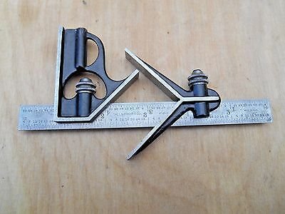 "Vtg. Starrett 6"" , 3 Piece Combination Square Set"