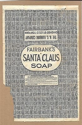 Vintage 1800's N.K. Fairbank's Santa Claus Soap Original Wrapper w Premium List