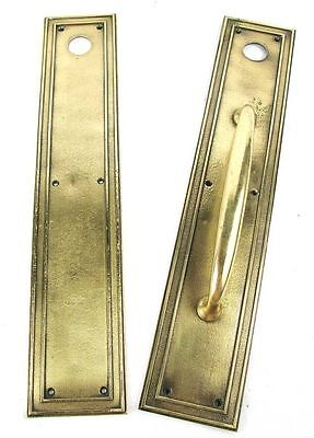 Vintage Polished Brass Arts & Crafts/Mission Door Handle Pair