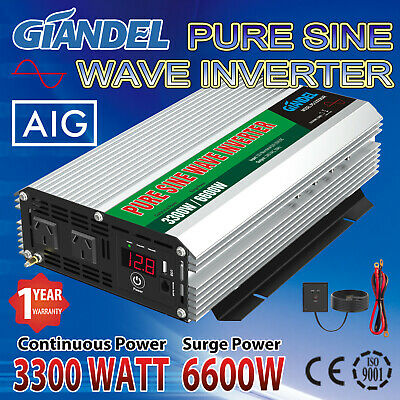Large Shell Pure Sine Wave Power Inverter 3300W/6600W Max12V-240V+Remote Control
