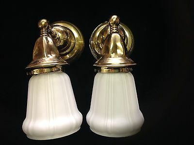Pair of RESTORATION Brass wall sconces with matching vintage satin shades