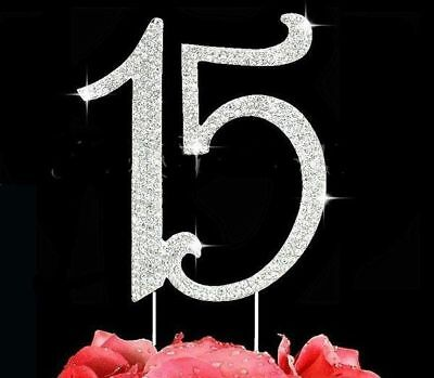 Large Quinceanera Number 15 Rhinestone Cake Topper 15th Birthday Cake Pick