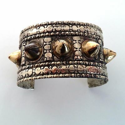 Tribal Style Spike Brass Cuff Bracelet Bohemian Ethnic Jewelry ATS Belly Dance