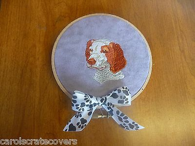 Brittany Spaniel Head Dog Embroidered Wall Hanging Handmade 5 inch