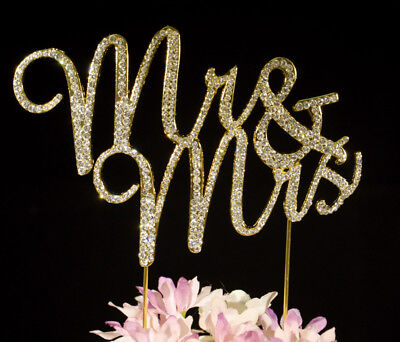 Gold Crystal Mr & Mrs Cake Topper Bling Wedding Cake Toppers Top